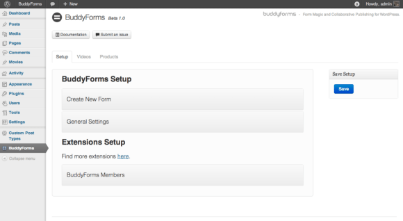 The Main Setup Page for BuddyForms.