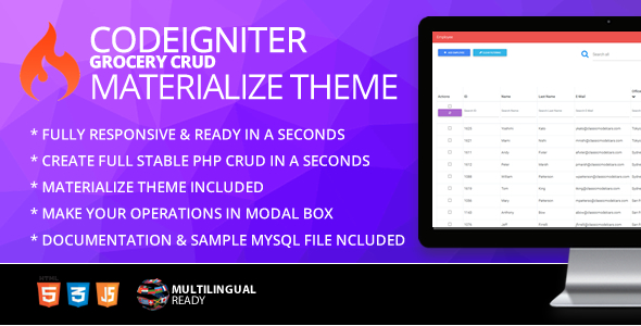Codeigniter ion-auth Template With Materialize Theme
