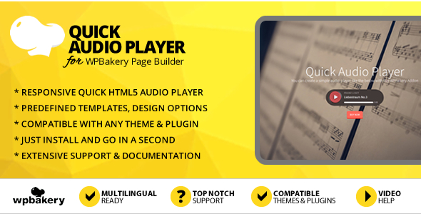 Quick Audio Player Addon for WPBakery Page Builder (Visual