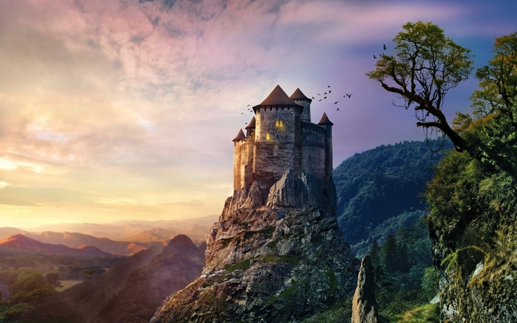 Windows 10 Wallpapers Girl Forest Castle Windows 10 Theme Themepack Me