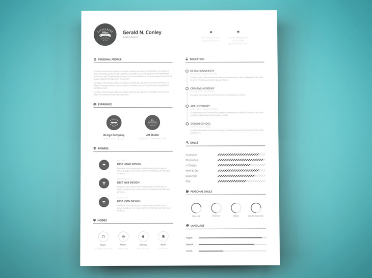 40 Free Printable CV Templates in 2017 to Get a Perfect Job - Free Graphic Design Resume Templates