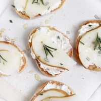 Whipped Feta, Pear & Rosemary Crostini