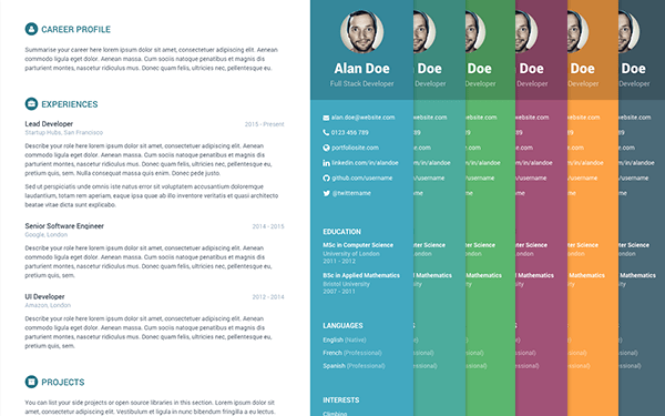resume templates for developers