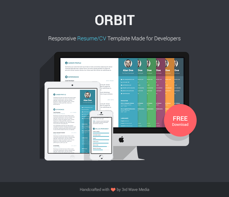 Easy Online Resume Builder Create Or Upload Your Rsum Free Bootstrap Resumecv Template For Developers Orbit