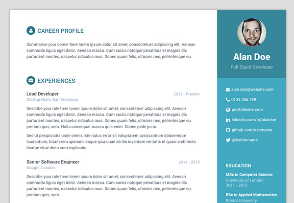 cv website template bootstrap