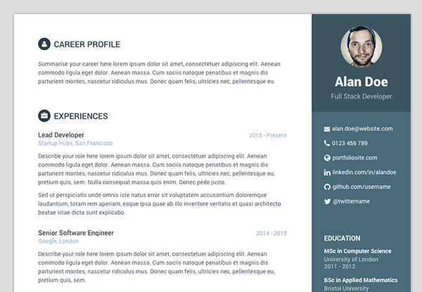 resume template in bootstrap free