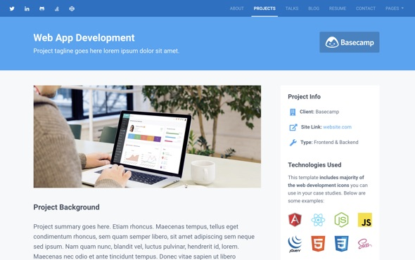 Instance - Bootstrap Personal Portfolio Theme for Full Stack Developers - online portfolio template