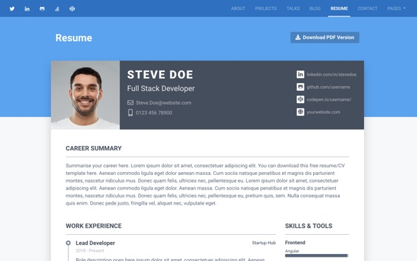 Instance - Bootstrap Personal Portfolio Template for Full Stack