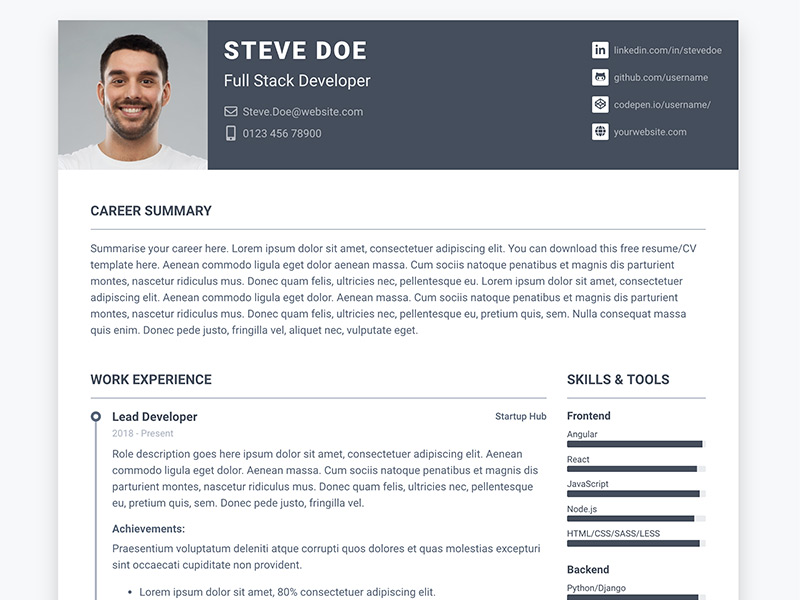 Pillar - Free Bootstrap 4 Resume/CV Theme for Developers - Bootstrap - bootstrap resume template