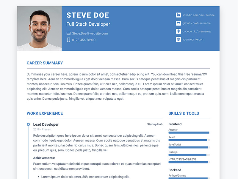 Pillar - Free Bootstrap 4 Resume/CV Template for Developers UX