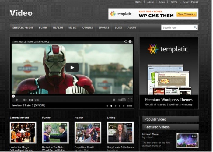 Video - free wordpress theme from templatic - Themes4WP
