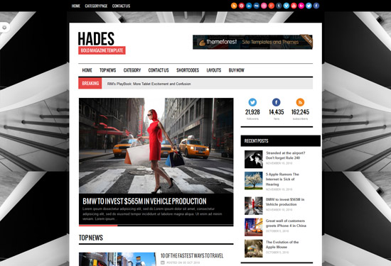 Hades Bold Magazine Newspaper Template - Themes4WP - online newspaper template