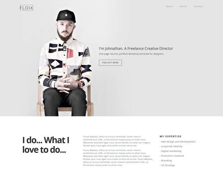 Floix \u2013 Onepage Bootstrap Resume Template - Themes Awesome - bootstrap resume template