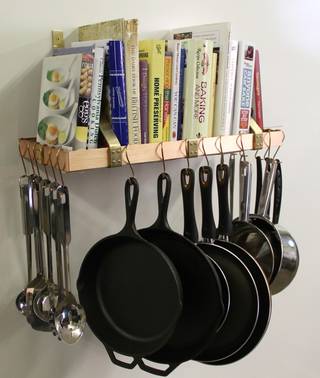 Wall Mounted Pots Copper Wall Mounted Pot Rack Handmade By Themetalpeddler