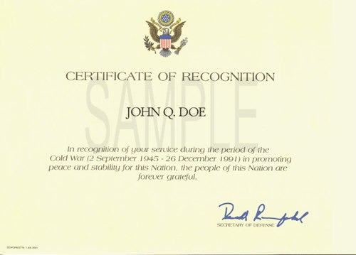 How to Get a Cold War Recognition Certificate - Tutorial  Links