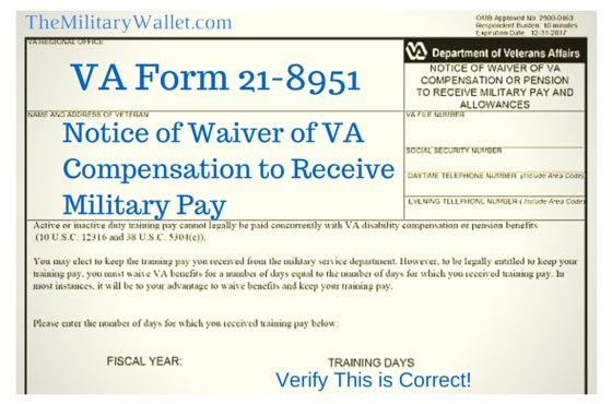 Waive VA Compensation for Military Pay - VA Form 21-8951