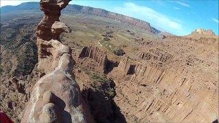 Top of the rock! Terrifying climb up 300 foot sandstone tower in Utah