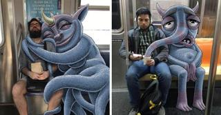 Artist Draws Fantastical Creatures Interacting with Commuters on NYC Subway