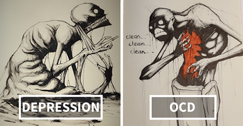 Artist Sketches Haunting Illustrations of Mental Illness & Emotional Disorders Every Day of October