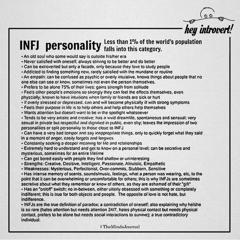 INFJ Personality Less Than 1 Of The World\u0027s Population Falls Into