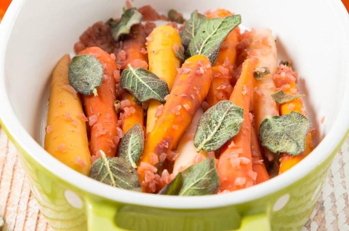 Wine-Braised Rainbow Carrots with Sage