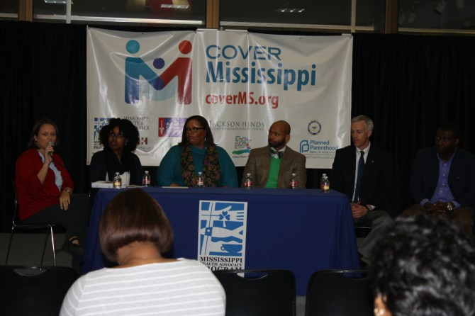 Panelist from left to right: Kimberly Hughes, American Cancer Society, Tinecia Harris, University of Mississippi Medical Center, Kim Robinson, Children's Defense Fund, Walter Zinn Jr., Moderator, State Senator David Blount, Senate District 29 (Hinds), and State Representative Bryant Clark, District 47 (Attala, Holmes, and Yazoo).