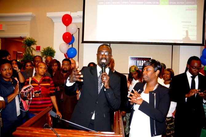 Yarber, with wife Rosalind, addressing supporters after being declared mayor-elect of the city of Jackson. PHOTO BY JAY JOHNSON