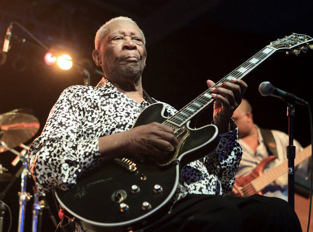 Blues music legend BB King performs on Frampton's Guitar Circus 2013 Tour at Pier Six Pavilion on Thursday, Aug. 8, 2013, in Baltimore. (Photo by Owen Sweeney/Invision/AP)