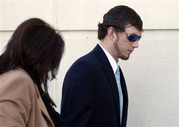John Louis Blalack enters the federal courthouse in Jackson, Miss., Wednesday, Jan. 7, 2015 for a change-of-plea hearing in relation to a series of 2011 racial beatings that resulted in the death of a Jackson man. Blalack was indicted in 2014 at the end of a long investigation sparked by the June 2011 death of James Craig Anderson who was run over by a pickup truck outside a Jackson motel. (AP Photo/Rogelio V. Solis)