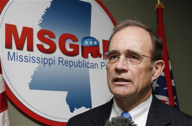 Mississippi Secretary of State Delbert Hosemann speaks during a news conference at the state Republican party headquarters, Monday in Jackson. Hosemann, who filed qualifying papers Monday, is running for a third term. (Rogelio V. Solis/The Associated Press)
