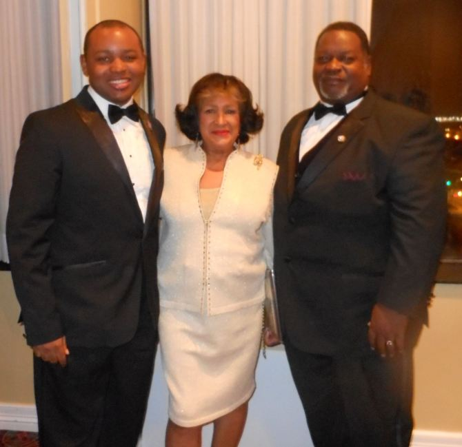 Antonio Knox Jr. (left) is shown with Carolyn Meyers, JSU president and Antonio Knox Sr., Grand Basileus at the gala.