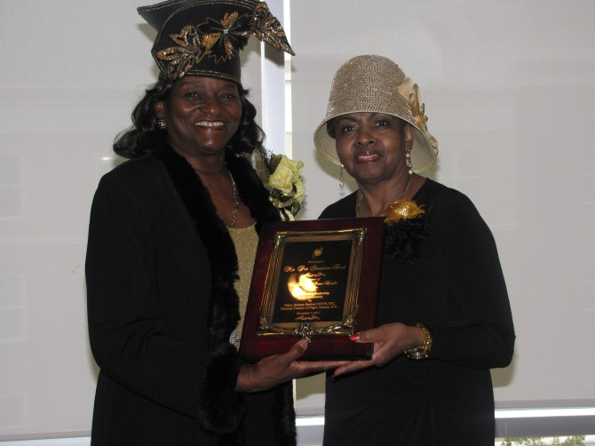 National Council of Negro Women Metro Jackson President Mattie Stevens (left) presents Community Leadership Service Award to Pat Sanders-Ford. Photo by Janice Neal-Vincent