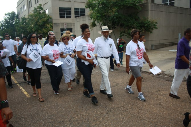 James Meredith walks in the Walk For Good and Right from the Smith Robertson Museum and Cultural Center to the state Capitol, June 26, in Jackson. PHOTO BY SHANDERIA K. POSEY