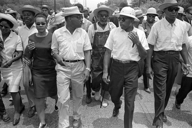 "Martin Luther King Jr. and James Meredith (top photo) walk side-by-side during the 1966 March Against Fear in Jackson. The photo is included in the ""James Meredith: Am I Or Am I Not a Citizen"" exhibition at the Smith Robertson Museum and Cultural Center. The photo is from Bob Fitch Photography Archives and Stanford University Libraries. COURTESY USE FROM SMITH ROBERTSON MUSEUM"