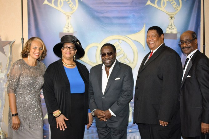 Attending the Jackson Music Awards were Judy Thompson (from left), Larita Cooper Stokes, Eddie Levert, Kenneth Stokes and Jessie Thompson. PHOTO BY STEPHANIE R. JONES