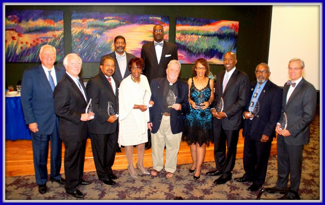 Phi Beta Sigma Mu Sigma Chapter Image Award Recipients were (from left) Johnny Maloney, Eddie Maloney, Rev. Isiac Jackson, Evelyn J. Leggett, Father Jeremy Tobin, Jackie Hampton, Jimmy Wilkins, Silvanus Johnson and Dr. James Warnock. Standing on back row are Vernon Jasper (left) and Mark Young. PHOTO BY JAY JOHNSON