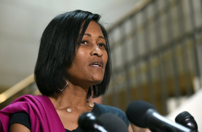 In this Sept. 3, 2015 file photo, Cheryl Mills speaks to reporters on Capitol Hill in Washington. (AP Photo/Susan Walsh, File)