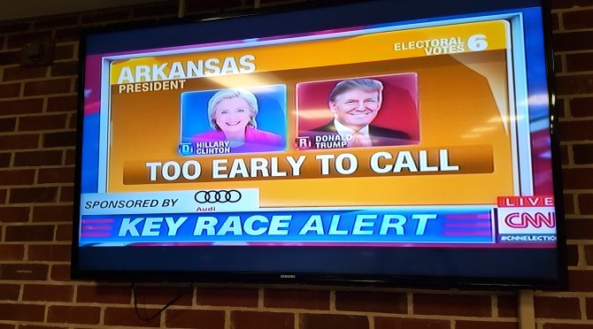 Arkansas was one of several states that were too early to call as polls closed crossed the nation.