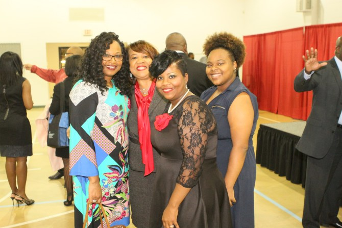 Tanesha Moody (from left), Jean Jacobs, Amy Johnson and Ariel Griffin at the ordination reception
