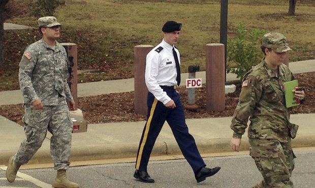Army Sgt. Bowe Bergdahl is seen leaving a courtroom after a pretrial hearing in Fort Bragg, NC., Monday, Nov. 14, 2016. Bergdahl faces a military trial in 2017 on charges of desertion and misbehavior before the enemy after walking off his post in Afghanistan in 2009. (AP Photo/Jonathan Drew)