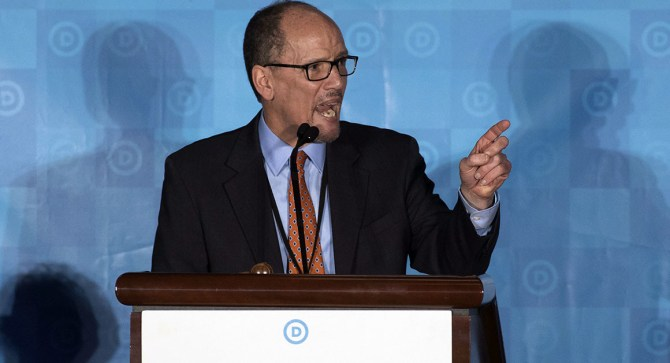 Newly elected Democratic National Committee Chairman Tom Perez gives a victory speech during the general session of the DNC winter meeting in Atlanta, Saturday, Feb. 25, 2017. Perez picked runner-up Ellison to be deputy chairman. (AP Photo/Branden Camp)