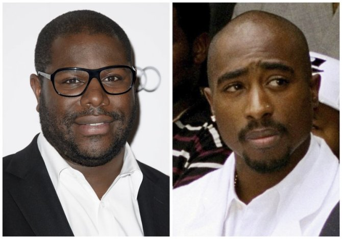 In this combination photo, filmmaker Steve McQueen, left, appears at The London Critics Circle Awards, in London, on Feb. 2, 2014 and rapper Tupac Shakur attends a voter registration event in South Central Los Angeles on Aug. 15, 1996. McQueen is set to direct a documentary about Shakur. Shakur Estate trustee Tom Whalley and Amaru Entertainment said Tuesday, May 9, 2017, that the film is fully sanctioned by the late hip-hop artist's estate. (Photo by Jonathan Short/Invision/AP, left, and Frank Wiese/AP, File)
