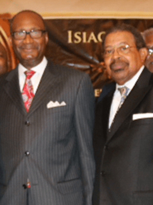 Dr. Jerry Young (L), president, NBC and Rev. Isiac Jackson (R), president, GMBSC