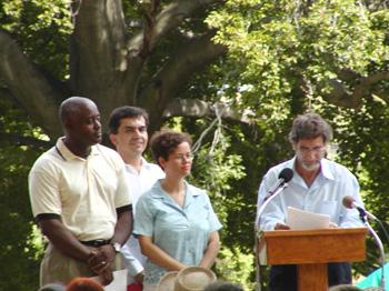 """Racism Can End"" Speakers at Eli Siegel Day celebration in Baltimore, (l-r) Captain Allan Michael, Dr. Jaime R. Torres, NYC teacher Monique Michael, Dr. Arnold Perey."