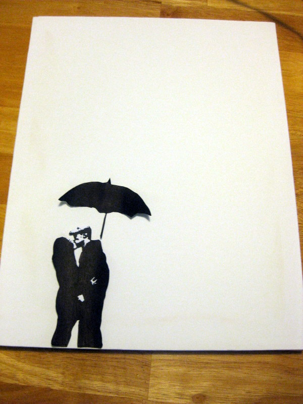 Couple Silhouette Umbrella Crayon ArtCouple Silhouette Umbrella Crayon Art