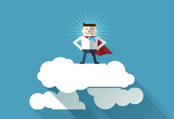 Cartoon businessman Superhero with a red cape on cloud