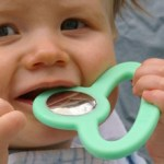 A Cool, Modern Teether in Baby-Friendly Silicone and Stainless Steel