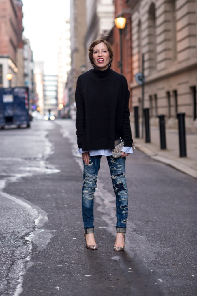 blank-denim-destroyed-jeans-black-cashmere-turtleneck-katespade-glitterheels