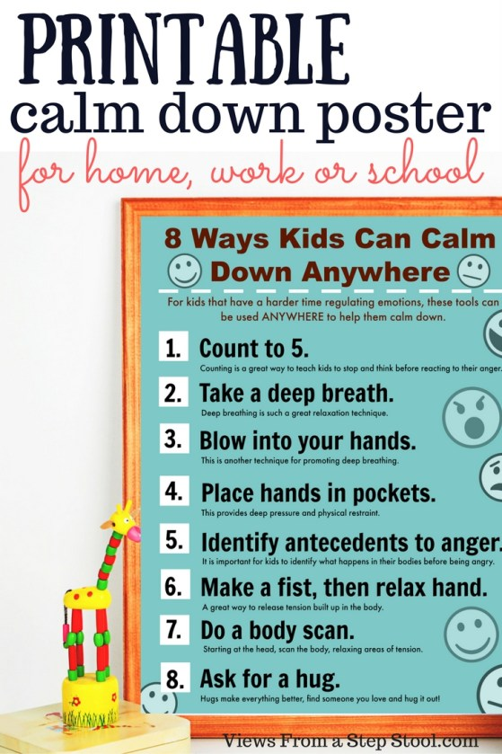 This printable calm down poster is perfect for helping kids learn to calm themselves anywhere!