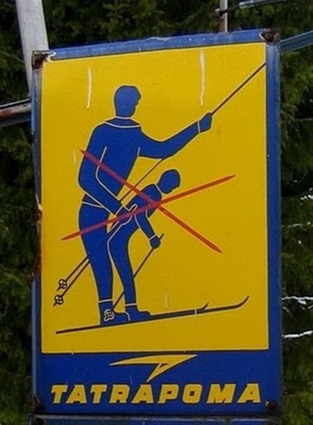 Funny skiing sign